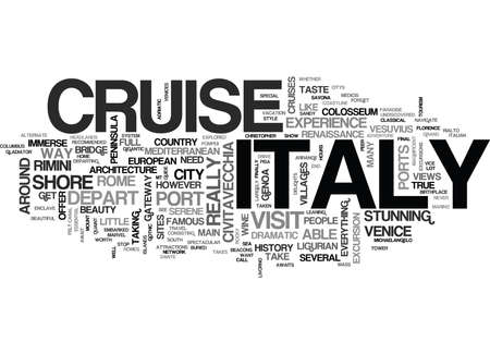 ITALY CRUISE GUIDE Text Background Word Cloud Concept