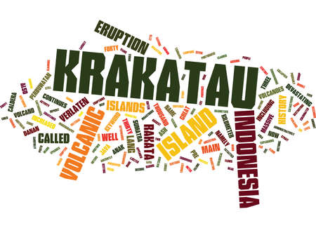 KRAKATAU INDONESIA Text Background Word Cloud Concept