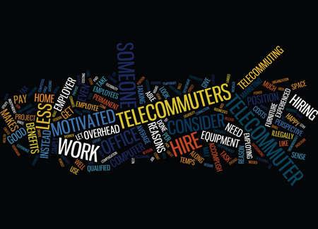 GROTE REDENEN OM EEN TELECOMMUTER TE HUUREN Tekst Achtergrond Word Cloud Concept