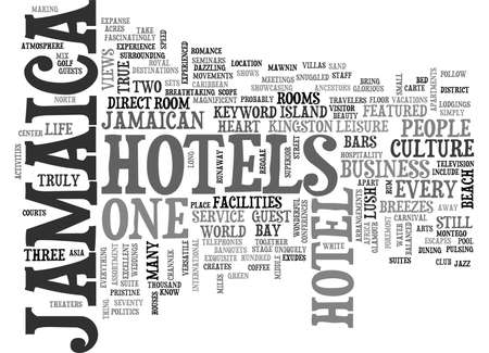 middle: JAMAICA HOTELS Text Background Word Cloud Concept