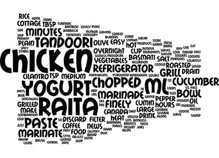 GRILLED TANDOORI STYLE CHICKEN WITH COOL CUCUMBER RAITA Text Background Word Cloud Concept