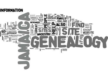 genealogy: JAMAICA GENEALOGY Text Background Word Cloud Concept Illustration