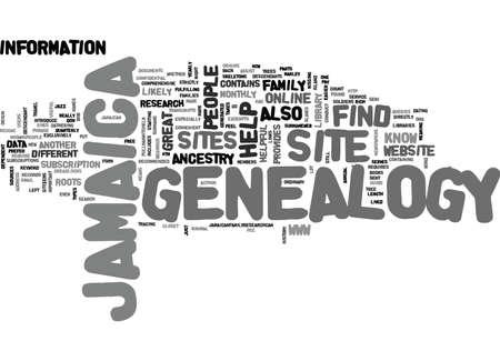 JAMAICA GENEALOGY Text Background Word Cloud Concept 向量圖像