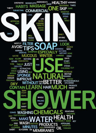 LEARN HOW TO SHOWER TO KEEP YOUR SKIN HEALTHY Text Background Word Cloud Concept