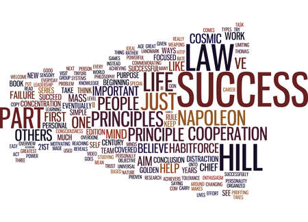 LAW OF SUCCESS PART III Text Background Word Cloud Concept Illustration