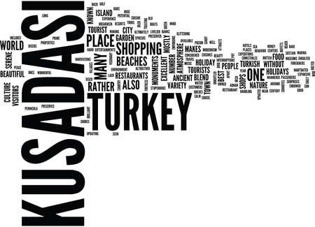 KUSADASI TURKEY HOLIDAYS Text Background Word Cloud Concept Vettoriali