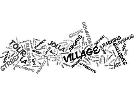 LA JOLLA VILLAGE TOUR Tekstachtergrond Word Cloud Concept Vector Illustratie