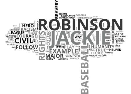 JACKIE ROBINSON A CIVIL RIGHTS HERO Text Background Word Cloud Concept