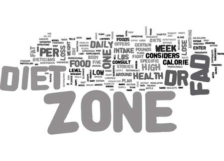 IS ZONE DIET A FAD Text Background Word Cloud Concept