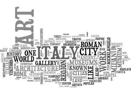 archaeologically: ITALIAN TRAVEL GUIDE Text Background Word Cloud Concept Illustration
