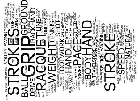 GRIP FOOTWORK AND STROKES IN TENNIS Text Background Word Cloud Concept