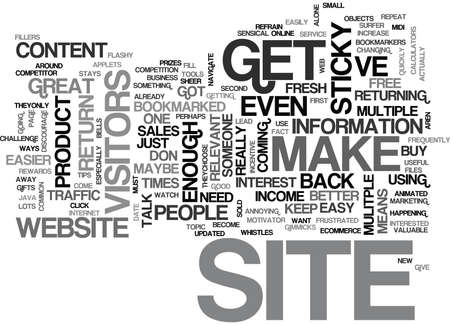 IS YOUR WEBSITE STICKY Text Background Word Cloud Concept