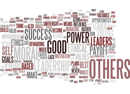 LEADERSHIP IS POWER TEST YOUR ETHICS Text Background Word Cloud Concept Illustration