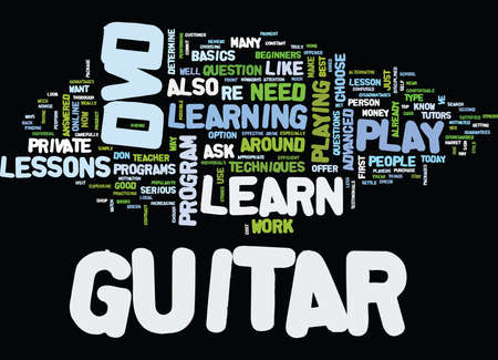 LEARN TO PLAY GUITAR DVD Text Background Word Cloud Concept