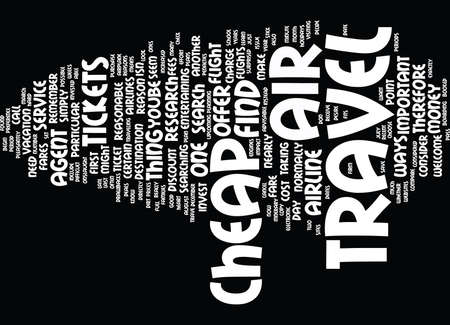 LEARN HOW TO FIND DIRT CHEAP AIR TRAVEL Text Background Word Cloud Concept