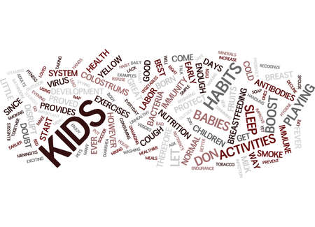 GREAT HABITS TO IMPROVE YOUR CHILDREN S IMMUNITY Text Background Word Cloud Concept