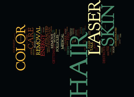LASER HAIR REMOVAL COLOR OF HAIR AND SKIN Text Background Word Cloud Concept Illustration