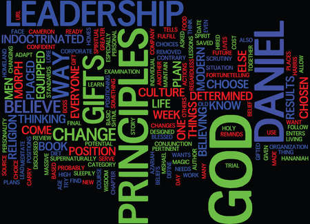 LEADERSHIP LESSONS FROM DANIEL Text Background Word Cloud Concept