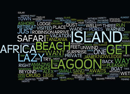 LAZY LAGOON ISLAND RETREAT Text Background Word Cloud Concept Illustration