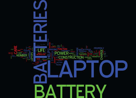 LAPTOP BATTERIES AND LAPTOP BATTERY CARE Text Background Word Cloud Concept