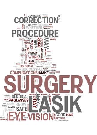 レーシック目の手術安全または危険なテキスト背景単語クラウド概念  イラスト・ベクター素材