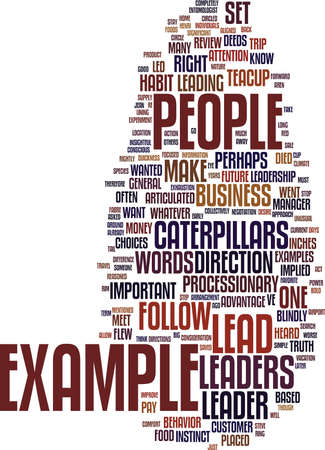 LEAD BY THE RIGHT EXAMPLE Text Background Word Cloud Concept Illustration
