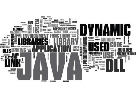 JAVA DLL Text Background Word Cloud Concept Ilustrace