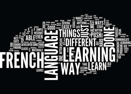 LEARN FRENCH THE HARD WAY Text Background Word Cloud Concept