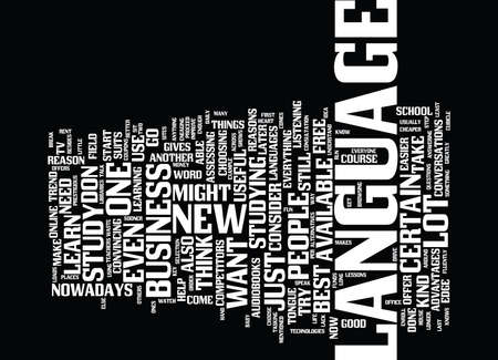 LANGUAGE ON THE GO Text Background Word Cloud Concept Illustration