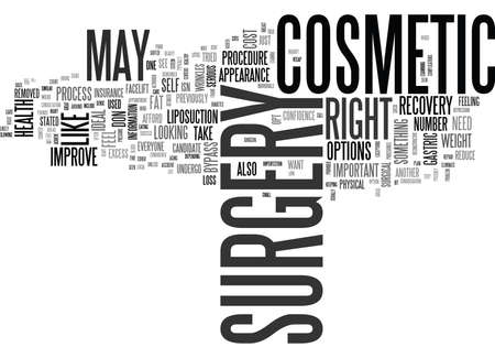 IS COSMETIC SURGERY RIGHT FOR YOU Text Background Word Cloud Concept Ilustrace