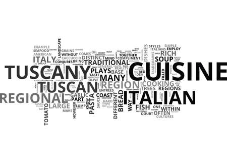 ITALIAN CUISINE IN THE HEART OF TUSCANY Text Background Word Cloud Concept