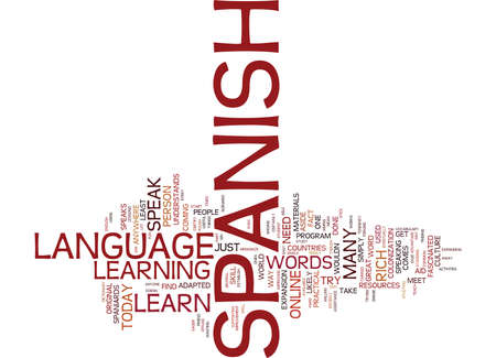 LEARN JUST ENOUGH WORDS TO SPEAK SPANISH Text Background Word Cloud Concept