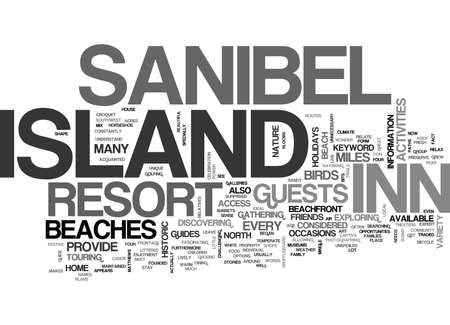ISLAND INN SANIBEL Text Background Word Cloud Concept