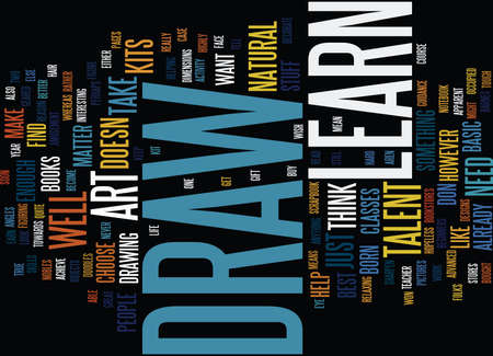 LEARN TO DRAW Text Background Word Cloud Concept Ilustração