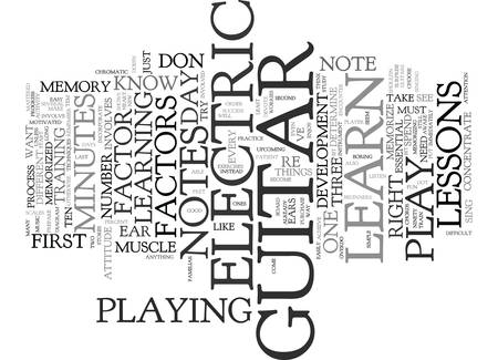LEARN TO PLAY ELECTRIC GUITAR Text Background Word Cloud Concept