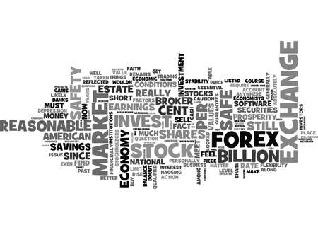 IS IT SAFE TO INVEST IN SHARES OR THE FOREX Text Background Word Cloud Concept  イラスト・ベクター素材