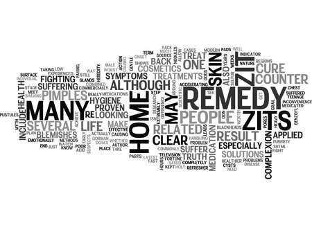 IS THERE A TRUE HOME REMEDY FOR ZITS Text Background Word Cloud Concept