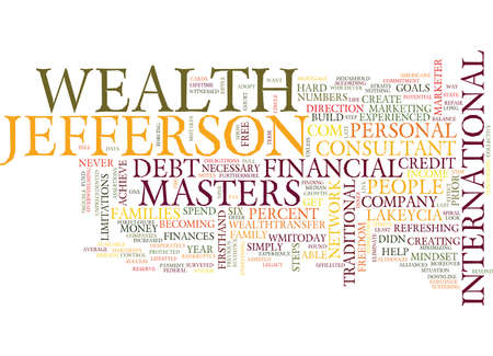 jefferson: LAKEYCIA JEFFERSON ON WEALTH MASTERS Text Background Word Cloud Concept