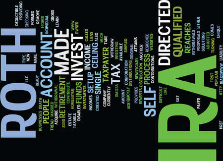LEARN ABOUT THE ROTH IRA AND HOW YOU CAN INVEST IT Text Background Word Cloud Concept Illustration
