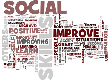 GREAT WAYS TO IMPROVE YOUR SOCIAL SKILLS Text Background Word Cloud Concept