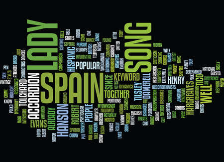 LADY OF SPAIN Text Background Word Cloud Concept Ilustração