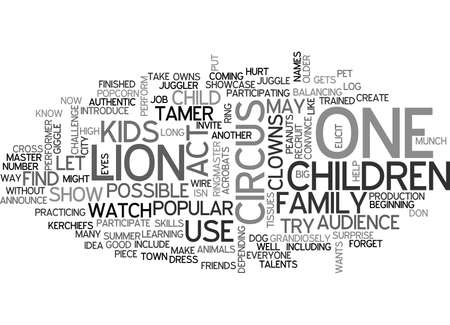 ITS A CIRCUS Text Background Word Cloud Concept Illustration