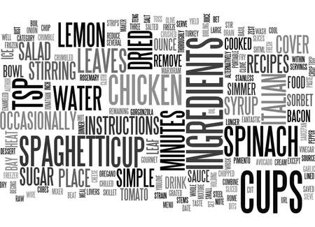 ITALIAN RECIPES HOW ABOUT A DINNER IN ROME Text Background Word Cloud Concept Ilustração