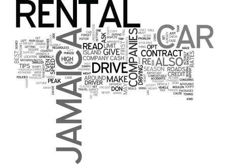 JAMAICA CAR RENTAL Text Background Word Cloud Concept