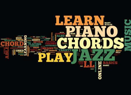 人気のあるジャズ ・ ピアノ和音オンライン テキスト背景単語雲概念を学ぶ