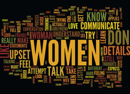 LEARN HOW WOMEN COMMUNICATE Text Background Word Cloud Concept