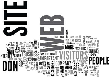 deficiencies: IS YOUR WEB SITE READY FOR ITS VISITORS Text Background Word Cloud Concept