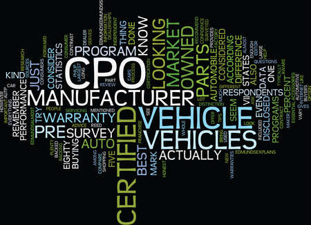 LARGE PART OF AUTO MARKET OUT FOR CERTIFIED PRE OWNED VEHICLES Text Background Word Cloud Concept