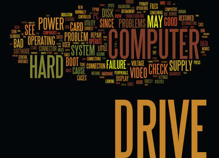 LEARN HOW TO REPAIR YOUR HARD DRIVE PROBLEMS FAST Text Background Word Cloud Concept