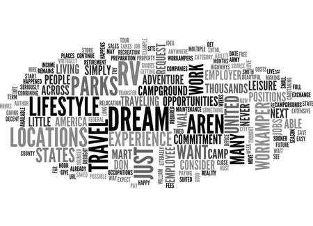 IS THE WORKAMPER LIFESTYLE FOR YOU Text Background Word Cloud Concept